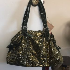 Big Buddha Green Velvet and Gold Sequined Bag